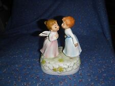 "Beautiful Enesco Music Box Girl Angel Boy  Plays Theme to Love Story 6 1/8"" High"