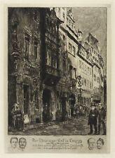 LEIPZIG - THÜRINGER HOF (BURGSTRASSE) - Bruno Heroux - Radierung 1908