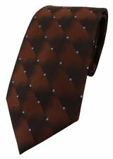 TigerTie Designer Krawatte braun messingbraun blau gepunktet - Schlips Binder