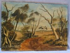 Vintage Framed Australian Oil Painting on Hardboard Signed Dick Anderson