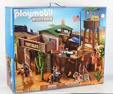 2012 Playmobil Western Fort Brave 5245 Set Sealed Damaged Box Complete