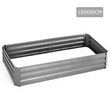 150 X 90cm Galvanised Steel Raised Garden Bed Instant Planter Rectangular Cream