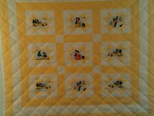 HANDCRAFTED BABY QUILT,  MICKEY MOUSE & MINNIE TRAVELING IN PLANES, CARS,& BOATS