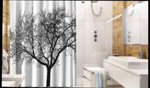 Modern Waterproof White Shower Curtain Tree Forest Design Decor W/ Hooks
