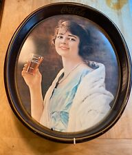 "Vintage Coca Cola Oval Tray 1973 ""Flapper Girl"" Drinking Glass of Coke Calendar"