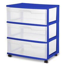 3 Drawer Wide Cart Storage Box Home Organizer Plastic Cabinet Room Sterilite