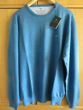Fynch-Hatton SUPERFINE COTTON Crew Neck Jumper - Azure - Size XXL - NEW + Tags