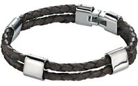 Fred Bennett Stainless Steel Twin Strap Genuine Woven Brown Leather Bracelet