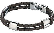 "Twin Strap Woven Brown Leather Bracelet Fred Bennett 8.5"" Stainless Steel Men's"