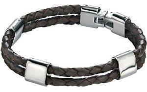 "Fred Bennett 8.5"" Stainless Steel Men's Twin Strap Woven Brown Leather Bracelet"