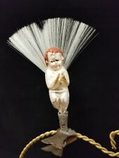 Rare Vintage German 1930's Angel on Clip with Annealed Hands Glass Ornament 4""