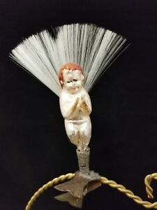 """Rare Vintage German 1930's Angel on Clip with Annealed Hands Glass Ornament 4"""""""