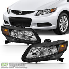 For 2012-2015 Honda Civic Sedan 12-13 Coupe Headlights Blk Headlamps Left+Right