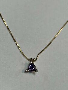 """Natural Tanzanite 14K Gold Pendant Diamond Accent w/ 14K Box Chain Necklace 20"""""""