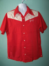 Vintage 1960's KING LOUIE WA DE DO DA LOUNGE Mens Red Bowling Shirt Size L