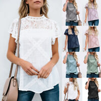 Womens Lace Patchwork Flare Ruffles Short Sleeve Floral Shirt Summer Blouse Tops