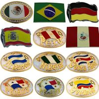 World Cup Football Soccer Country Flag Belt Buckle Mexico Brazil Peru Sport Team