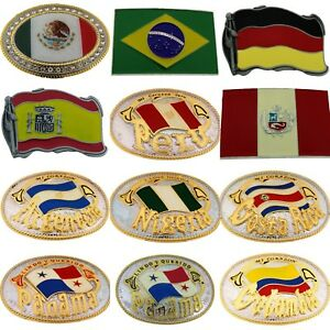 World Cup Football Soccer Country Flag Belt Buckle Mexico Brazil Peru Sport Team