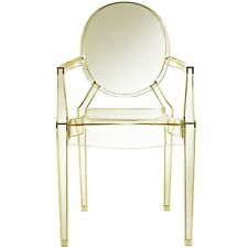 Yellow Clear Plastic Arm Chair In Out Door Stackable Dining Seat Furniture 2pc