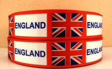 ENGLAND UNION JACK FLAG 25MM Grosgrain Ribbon Craft Wrap UK Metre Yard RB42