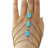 Turquoise Stones Bracelet Bangle Slave Chain Link Finger Hand Harness (P38)