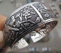 Tibetisch Tibet Silber Chinesisch Vogel Blume Totem Breite Armreif ManschetteXUI