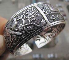 Tibetan Tibet silver Chinese Bird Flower Totem Wide Bangle Cuff Bracelet DSÁÍ
