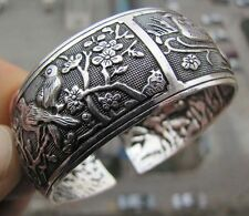 Tibetan Tibet silver Chinese Bird Flower Totem Wide Bangle Cuff Bracelet OH