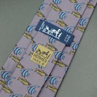 Hermes Paris Made In France Purple Fish Animal Pattern Silk Tie 7336 EA