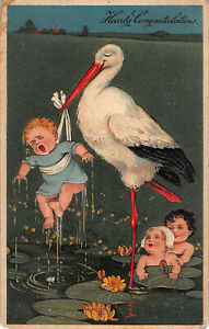1908 Crying Baby Pond Stork Carrying Embossed German Posted Postcard New York
