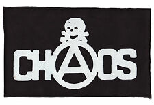 CHAOS BLACK PRINTED PATCH SEDITIONARIES SKULL ORIGINAL PUNK ROCK 1977 ANARCHY