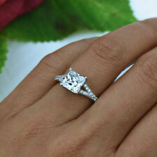 2ct dvvs1 princess cut diamond solitaire engagement ring in 14k white gold over