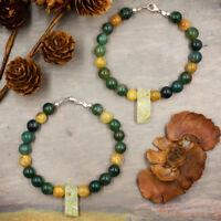 Healing Stones for You: Moss Agate and Gold Rutilated Quartz Beaded Bracelet