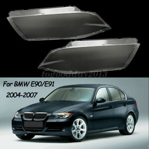 Pair Car Front Headlight Lens Cover Left & Right Side For BMW E90/E91 2004-2007