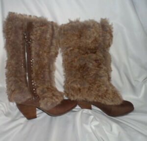 Not Rated Women's Brown Leather & Faux Fur Studded Boots Size 8.5 M NWOT