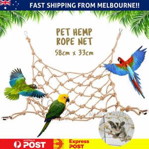 Pet Bird Climbing Net Parrot Toys Hemp Rope Training Climbing Pet Swing Perch AU