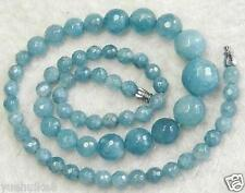 Faceted 6-14mm Natural Brazilian Aquamarine Round Gemstone Beads Necklace 18''