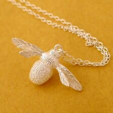 Solid 925 Sterling Silver Insect Big Bumble Bee Queen Bee Pendant Chain Necklace