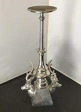 "Large Double Deer Elk Head Silver Tone Metal Pilar Candle Holder 17.25"" Tall"