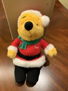 Mattel Walt Disney WINNIE THE POOH BEAR AS SANTA Plush STUFFED ANIMAL Toy 1995