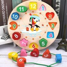 Digital Clock Puzzle Wooden Jigsaw Educational Toy Kids Children Montessori Gift