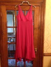 Linea 100% Silk Deep Pink Fluted Evening Dress Size 10