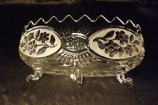 The European Collection Vintage Crystal Clear Flora Footed Oblong Bowl Frosted
