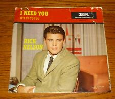 Ricky Nelson 45 picture sleeve: It's Up To You/ I Need You, Ozzie and Harriet