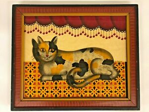 "Signed T. J. Graham Calico Cat Theorem In Paint Decorated Fr 16 1/4"" X 19 1/2"""
