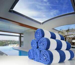 """Pack of 4 Beach towels Cabana Stripe Blue White Pool Towel 30"""" x 60"""" 4 Pieces US"""
