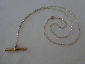 "Vintage 9CT Gold T- Bar Necklace 18¼"" Long"