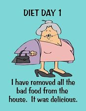 METAL REFRIGERATOR MAGNET Diet Removed Bad Food It Delicious Family Friend Humor