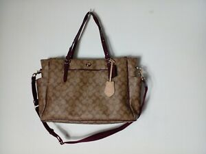 Coach Coated Canvas Baby Diaper Multifunction Bag Tote Brown Purple