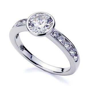 Women 3.5mm Platinum Plated Silver 1.25ct CZ Bezel Set Engagement Ring